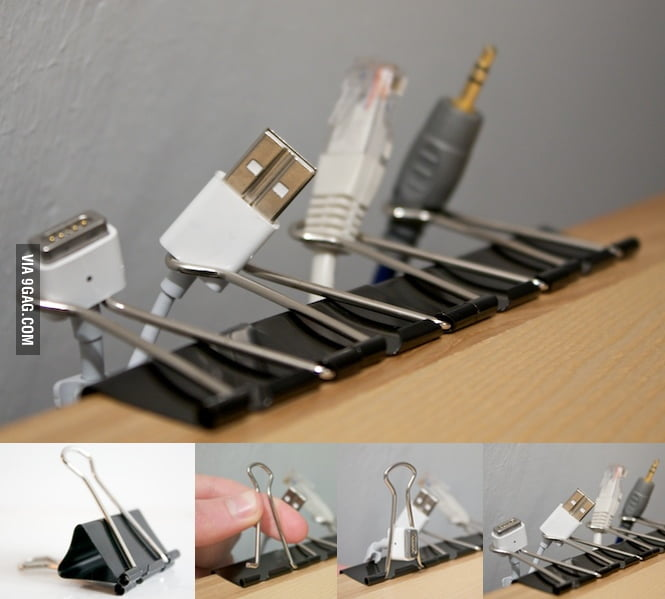 Binder clips as cable organizers