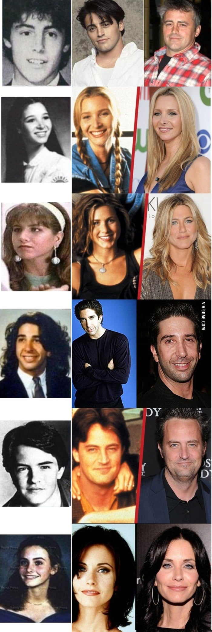 Friends cast, before/then/now - 9GAG