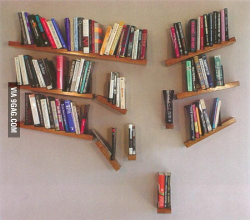 Falling bookshelf