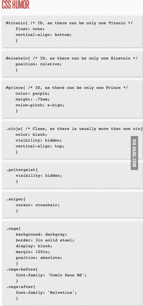 CSS HUMOR (For nerds only!) - 9GAG