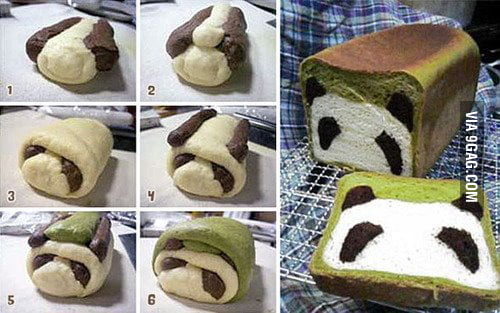 Steps in making a panda bread.....