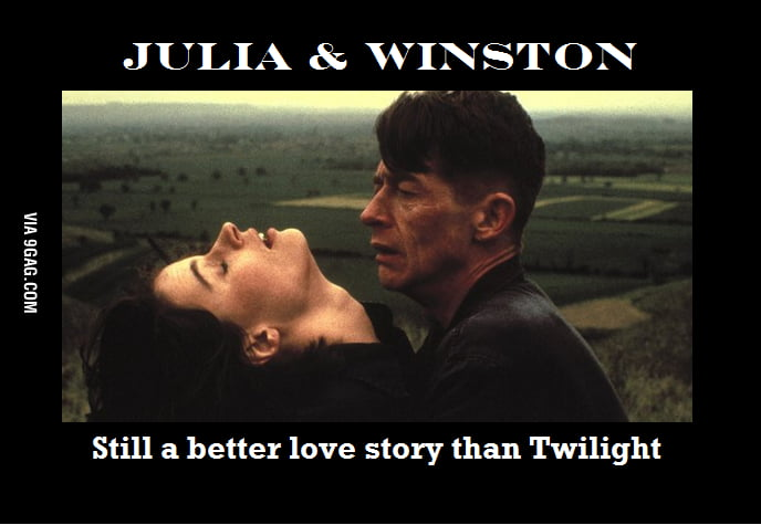 "an evaluation of winstons love for julia in george orwells story 1984 A short summary of george orwell's 1984 this free synopsis covers all the crucial plot points of 1984  reads ""i love you"" she tells him her name, julia,."