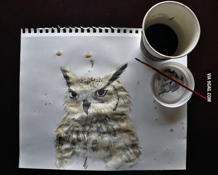My coffee got cold, so I made an owl with it.