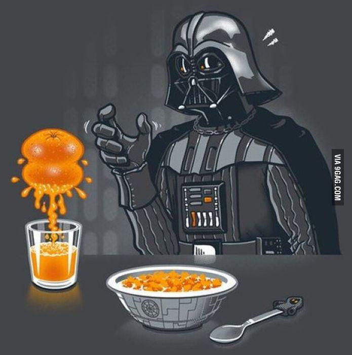 Squeeze orange like a darth