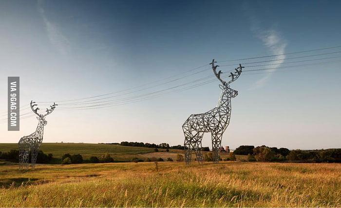 Deer-shaped Power Line Towers!