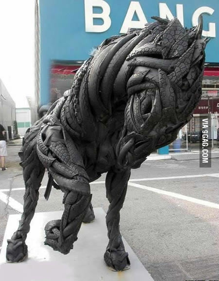 Just a horse made of car tires