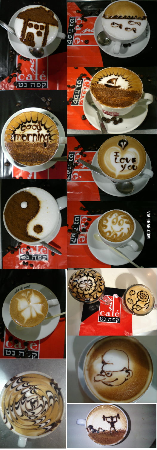 Coffee Art All Done By the Same Person