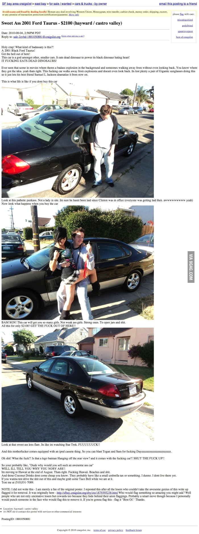 best craigslist ad for a car ever 9gag. Black Bedroom Furniture Sets. Home Design Ideas