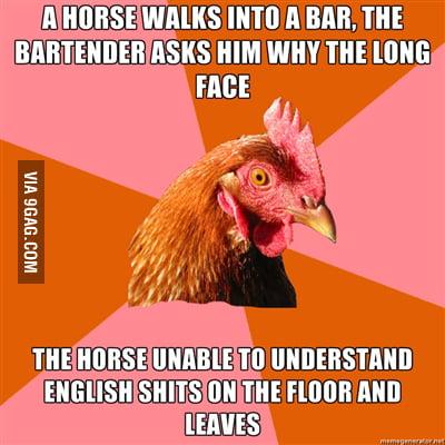 Anti-Joke Chicken Strikes Again
