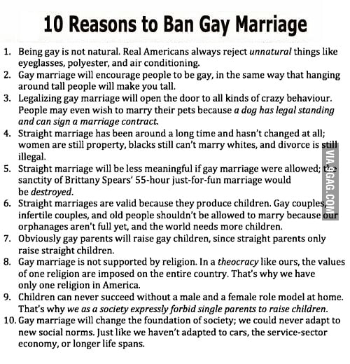 10 Reasons to Ban Gay Marriage