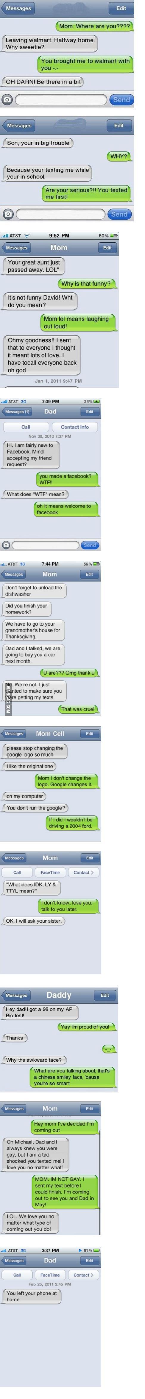 Parents texting