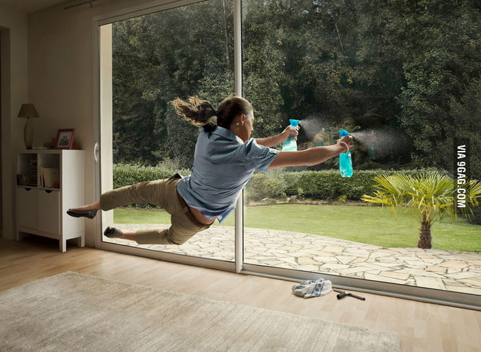 Cleaning windows like a boss