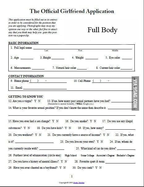 Girlfriend application form facebook