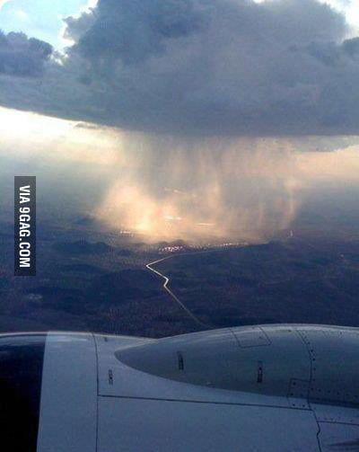 This is how rain looks from a plane