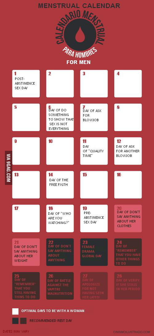 Menstrual calendar -for men-