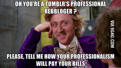 Oh you're a tumblr's professional rebbloger ?