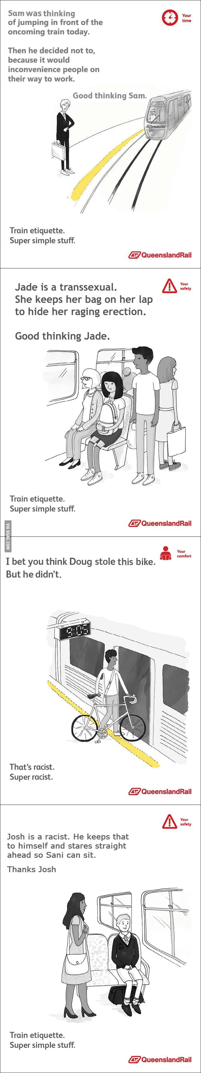 Train etiquette - Sam, Jade, Doug and Josh