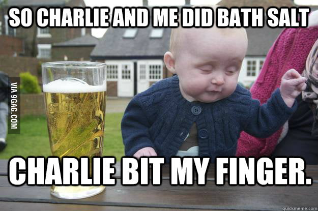 Drunk baby partying with Charlie