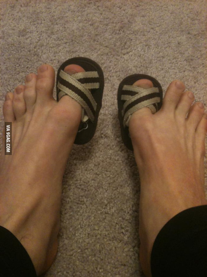 Saw my son's flip flops and decided to try them on...