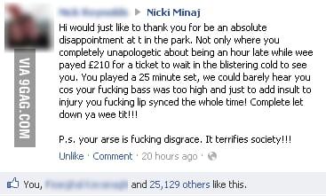 A Scottish man gives Nikki Minaj a piece of his mind
