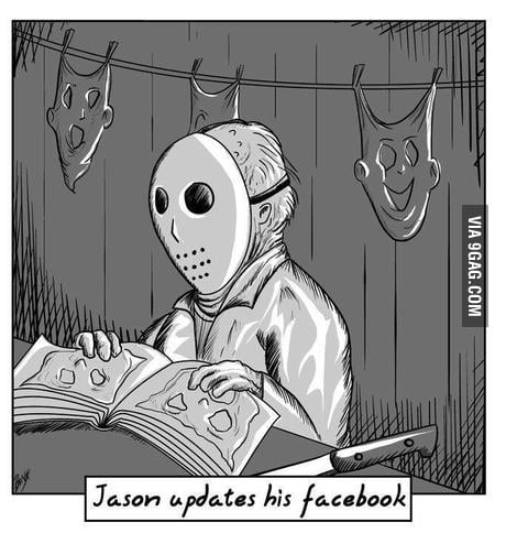 Jason updates his facebook.