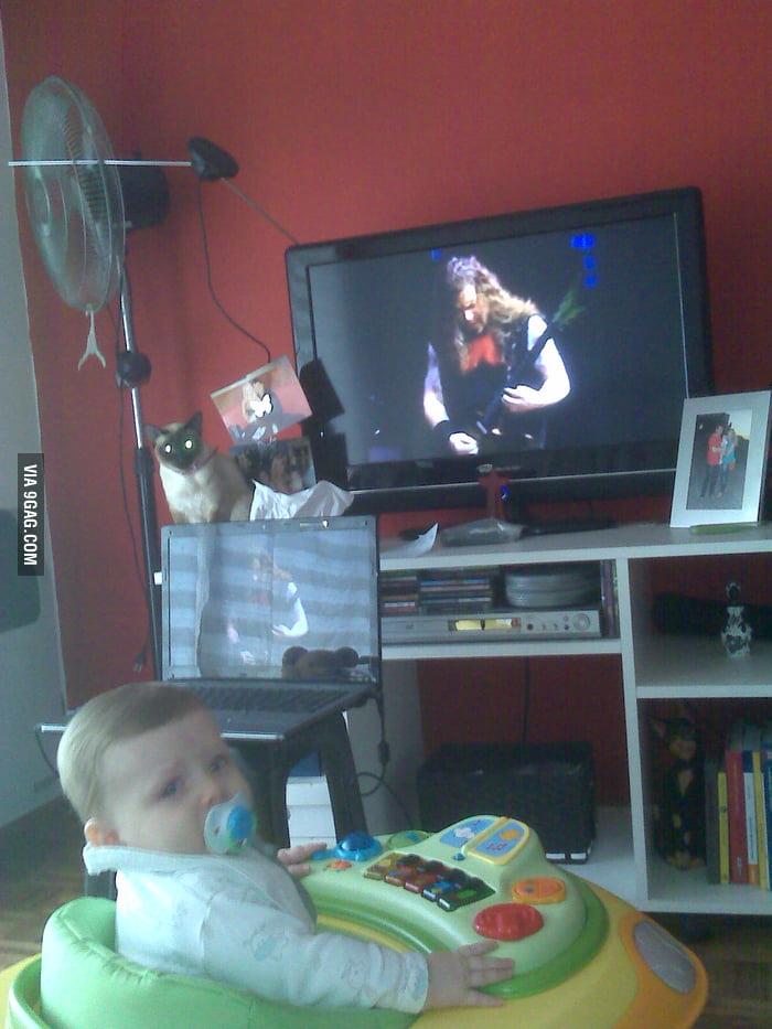 Metalhead Dad educates baby
