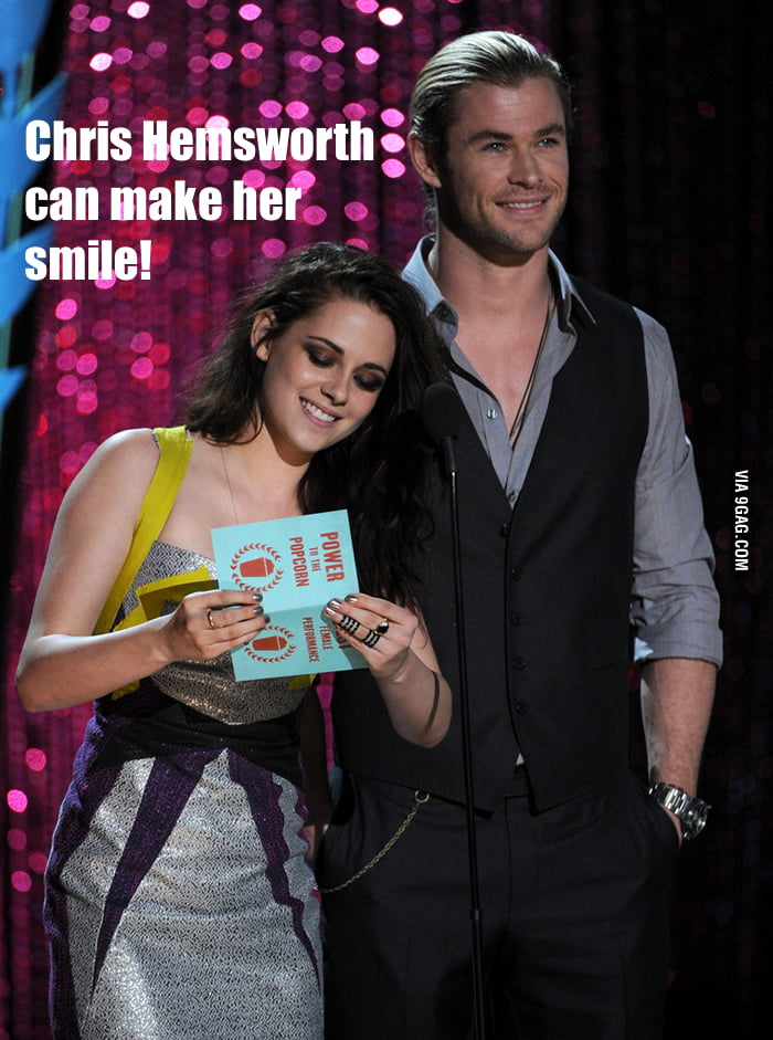 Chris Hemsworth can make her smile!