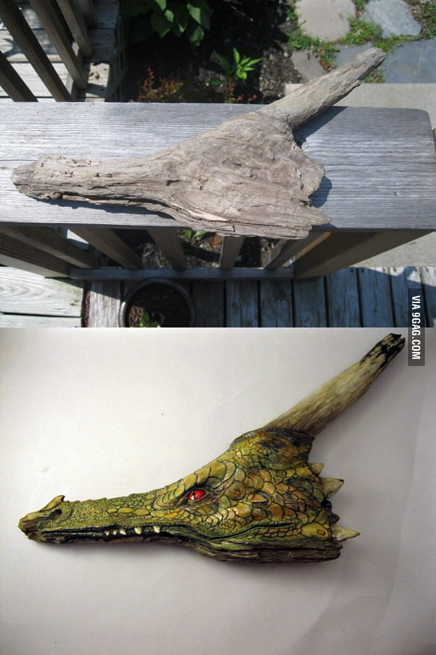 Dragon craved from a piece of driftwood.