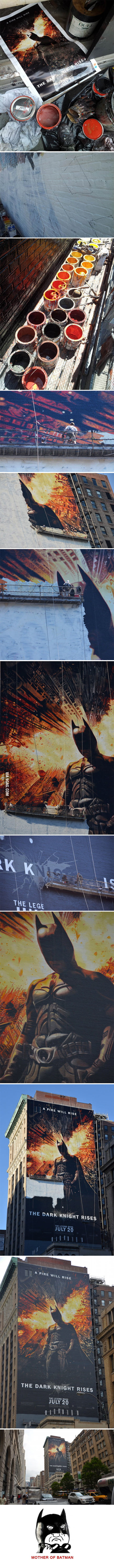Painting a 150-Foot tall Dark Knight Rises mural like a boss