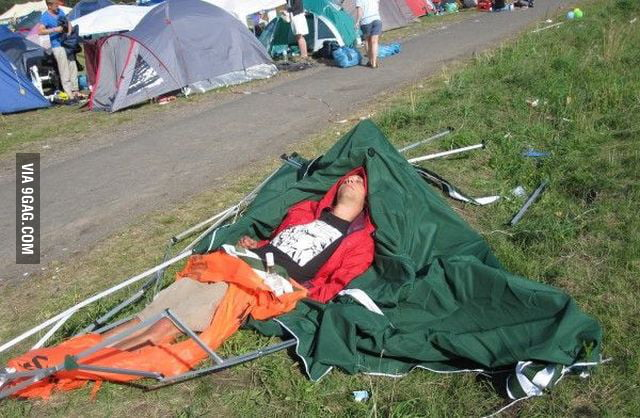 I'll set my tent after the concert he said...