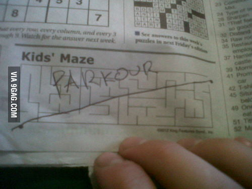 Complete a maze like a boss: Parkour