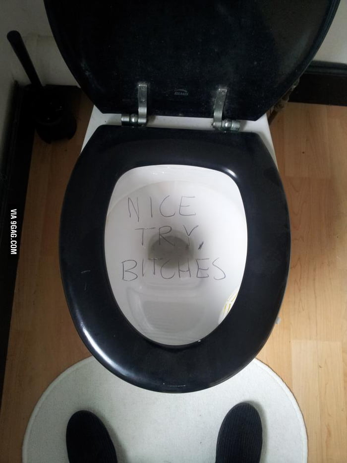 Tried to cover the toilet to prank a friend...