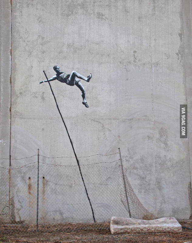 Awesome Olympics graffiti by Banksy: Pole Vault