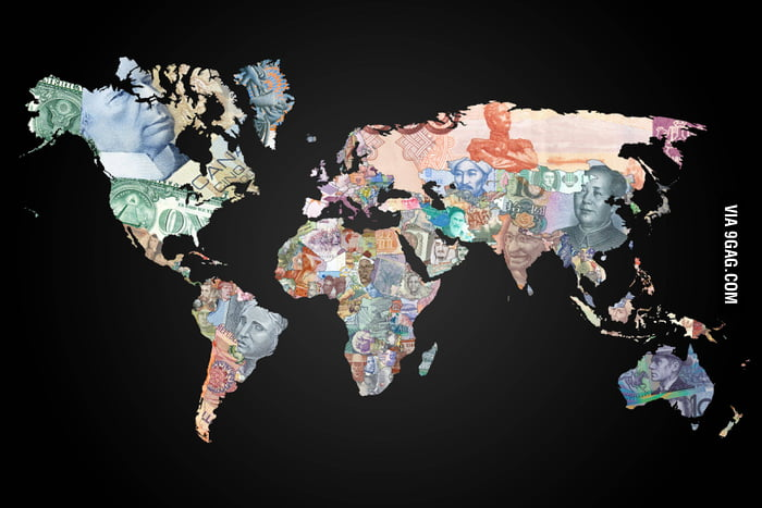 Currencies around the world map