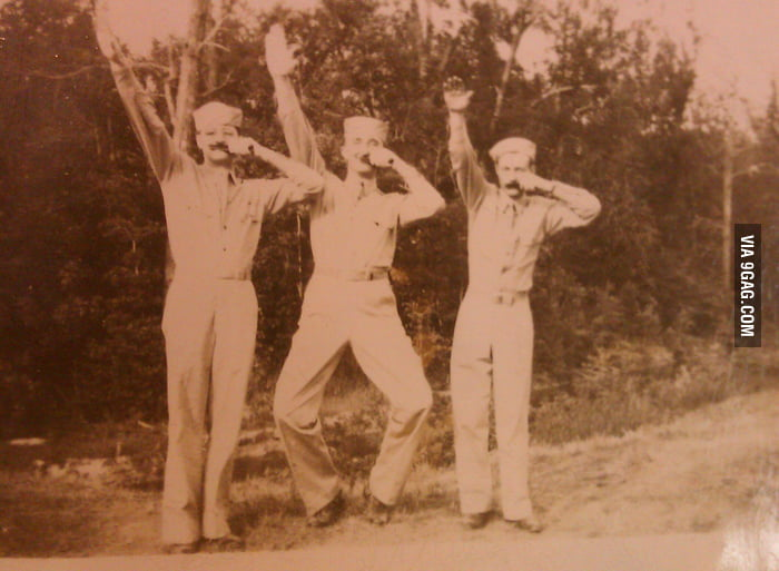 My grandpa and his friends making fun of Hitler during WWII