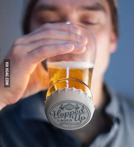 Headstanding beer glass