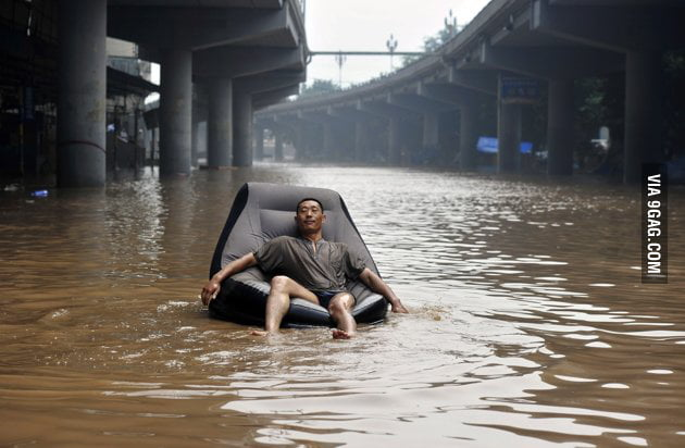 Lost all his f**ks in the flood, none left