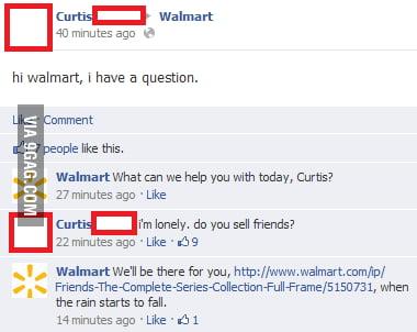 Hi Walmart, I have a question.