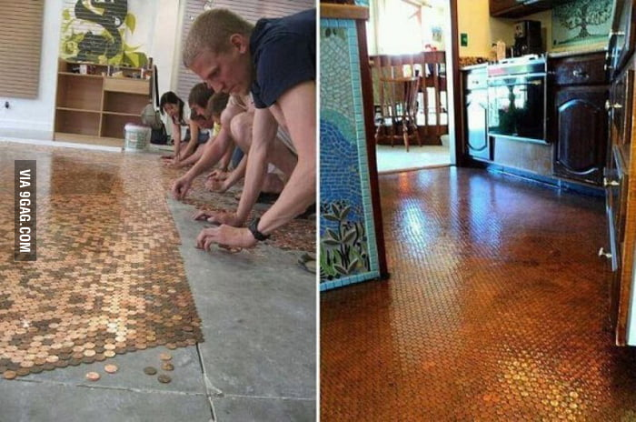 Some guy builds a floor out of pennies