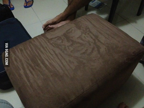 My friend was bored and drew this on the stool's velvet.