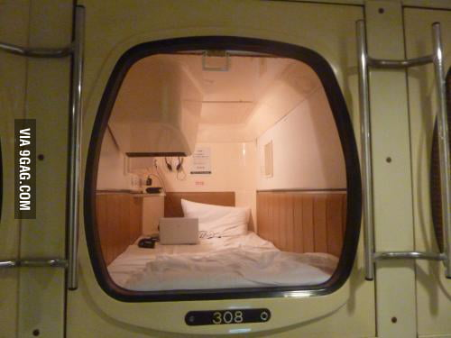 "A normal pod hotel ""room"" in Tokyo"