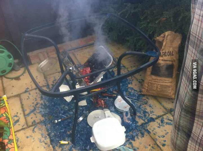 Friend BBQ'd on a glass table.....