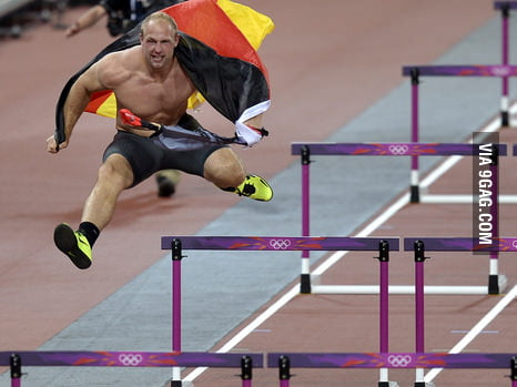 German discus thrower celebrating like a badass