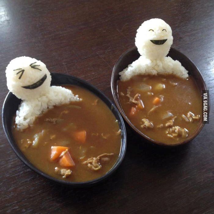 Edible men in curry soup!