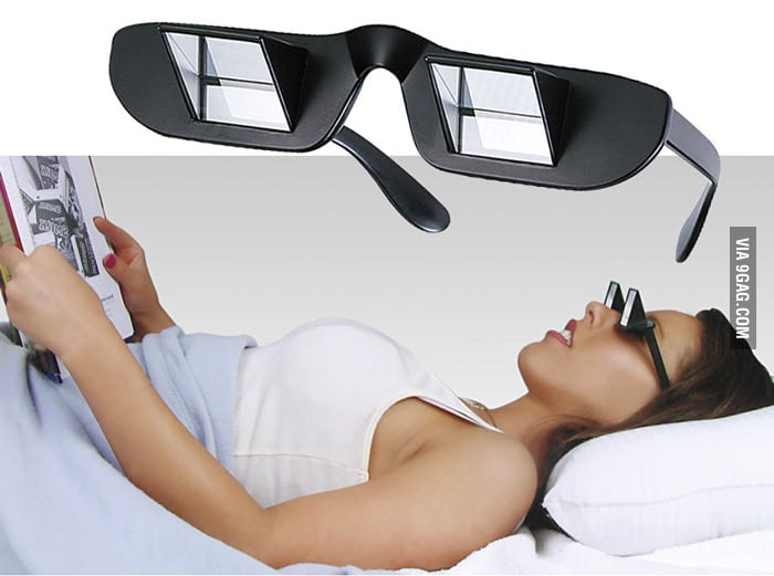 Read book or watch TV lying down with these Prism Glasses!