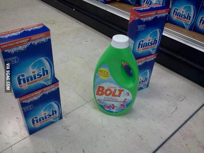 Supermarket Olympics: Bolt crossing the finish lines...