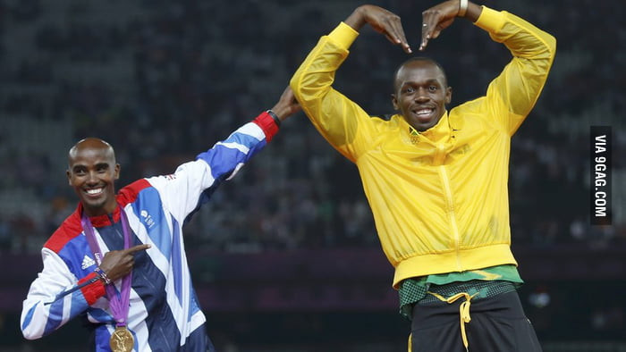 Usain Bolt and Mo Farah copy each others poses