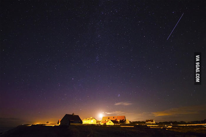A meteor during the Perseid meteor shower.