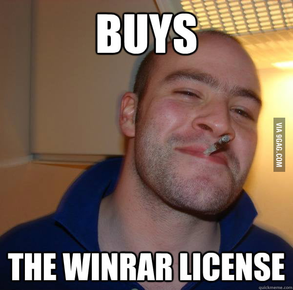Good Guy Greg using WinRAR.