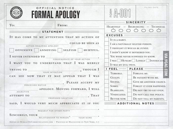 Official Notice: Formal Apology